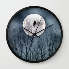 Night Raven Lit By The Full Moon Wall Clock