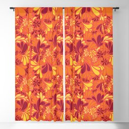Retro Summer of Love Florals Blackout Curtain