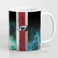 n7 Mugs featuring N7 Battle Damaged Armor by ThePyratQueen