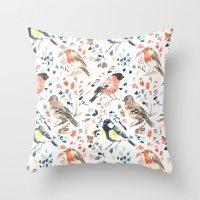 british Throw Pillows featuring British Birds by Lauren Thomas Designs