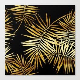 Tropical Palm Fronds Noir Canvas Print