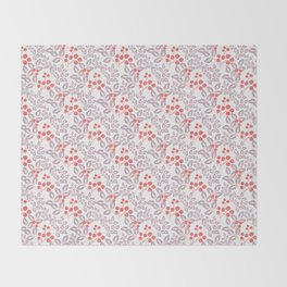 Delicate sprigs, red - orange flowers. Throw Blanket