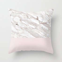 Blush and taupe marble Throw Pillow