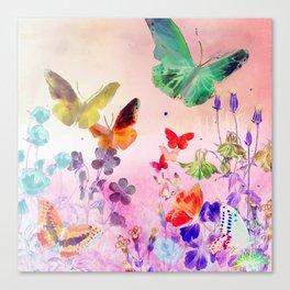 Blush Butterflies & Flowers Canvas Print