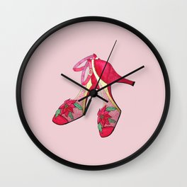 Christmas heels, holiday shoes, Poinsettia Flower, red shoes, christmas party, sexy, glamour girl Wall Clock