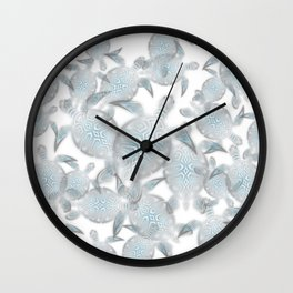 Silver Turtles Pattern Wall Clock