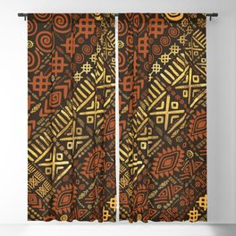 Ethnic African Pattern- browns and golds #5 Blackout Curtain