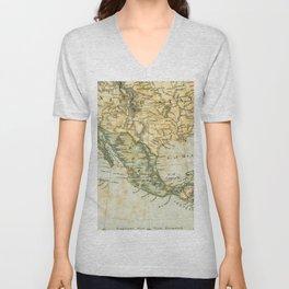 North America Vintage Encyclopedia Map Unisex V-Neck