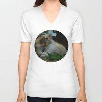 nicolas cage V-neck T-shirts featuring Nicolas Cage Cat Wants Nip by HiddenStash Art