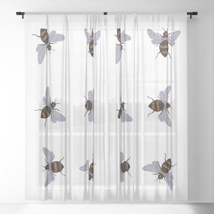 bees Sheer Curtain