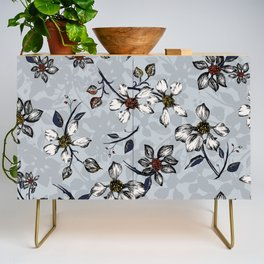 Botanical Pattern on Grey Background Credenza