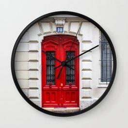 Red Door in Paris Wall Clock