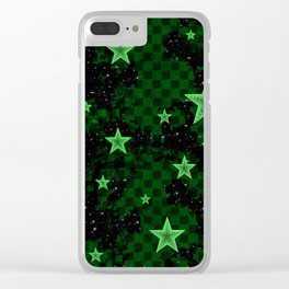 Green Neon Stars Clear iPhone Case
