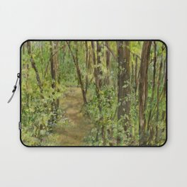 Wooded Path Watercolor Landscape Detailed Realism Laptop Sleeve