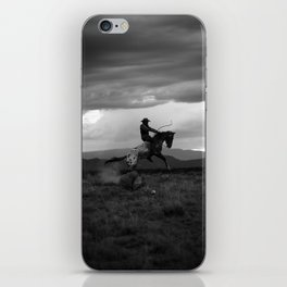 Black and White Cowboy Being Bucked Off iPhone Skin