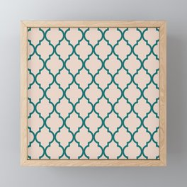 Classic Quatrefoil Lattice Pattern 323 Jade and Beige Framed Mini Art Print
