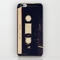tape iPhone & iPod Skins featuring mix tape by Marianne LoMonaco
