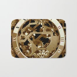 Steampunk Clocks  Gold Gears Mechanical Gifts Bath Mat