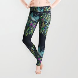 Little Garden Birds in Watercolor Leggings