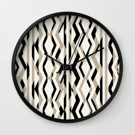 Abstract Cream Brown Black Geometric Pattern Wall Clock