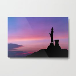 Silhouette of big statue of Buddha Metal Print
