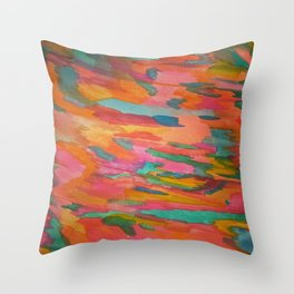 Rainbow Sherbet Abstract Painting Throw Pillow
