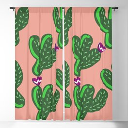 Prickly Cactus with Purple Flowers Blackout Curtain