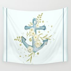 Blue anchor and flowers Wall Tapestry