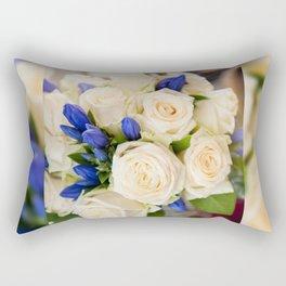 Ecru roses wedding bouquet Rectangular Pillow
