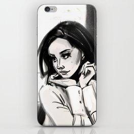woman in black and white iPhone Skin