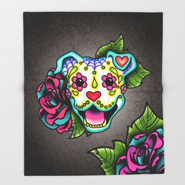 Smiling Pit Bull in White - Day of the Dead Pitbull Sugar Skull Throw Blanket