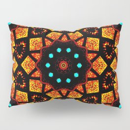 Bright Red Orange Mosaic Kaleidoscope Mandala Pillow Sham