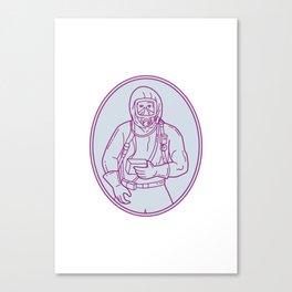 Worker Haz Chem Suit Oval Mono Line Canvas Print