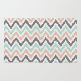 Mint Gray Coral Zigzag Pattern Rug