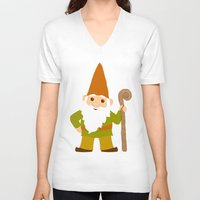 gnome V-neck T-shirts featuring gnome sweet gnome by Elephant Trunk Studio
