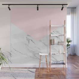 pink and white geometric marble Wall Mural