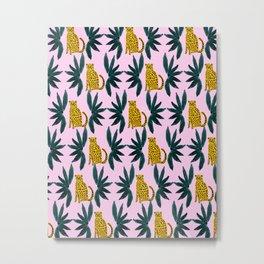 Cheetah and Leaves Metal Print