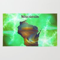 wisconsin Area & Throw Rugs featuring Wisconsin Map by Roger Wedegis
