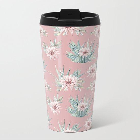 Echeveria Garden Roses Coral Rose Pink Metal Travel Mug