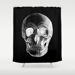 Grinning Skull Anatomical Drawing White Shower Curtain