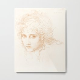 """Edward Burne-Jones """"Head of a Young Woman - Study for The Hesperides"""" Metal Print"""