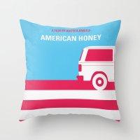 No786 My American Honey minimal movie poster Throw Pillow
