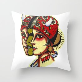 Split Face Tattoo Flash Painting with Demon Throw Pillow