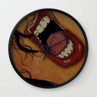 scream Wall Clocks featuring Scream by KNIfe