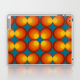 70s Circle Design - Teal Background Laptop & iPad Skin
