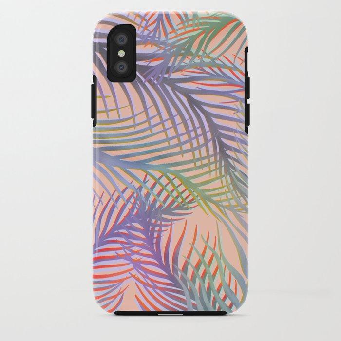 Palm Leaves Pattern - Purple, Peach, Blue iPhone Case