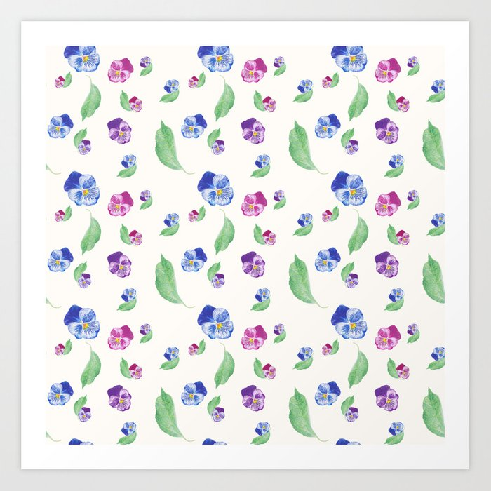 Summer Pansy Apple Leaf Pattern Art Print