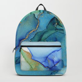Wavy Blues - Cyan Turquoise Gold Abstract Ink Backpack