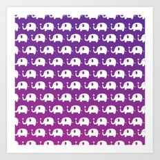 Elephants In Love (Purple) Art Print
