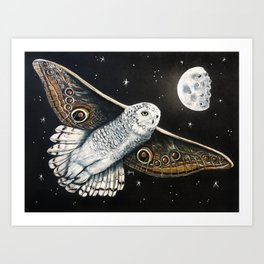 """Snowy Owl Butterfly"" - Butterflown collection Art Print"